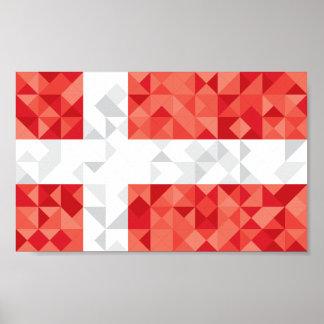 Poster Le poly drapeau du Danemark, le danois colore