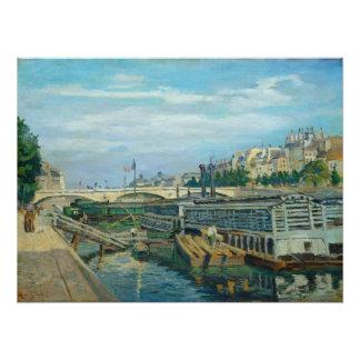 Poster Le pont de Louis Philippe, 1875 (huile sur la toil