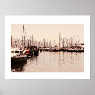 Poster Le port de la ville de Simon embarque l'affiche de