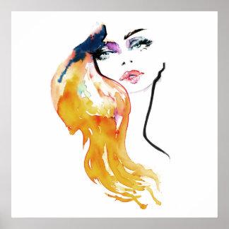Poster Le portrait de femme d'aquarelle composent le