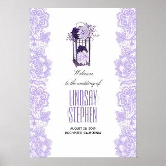 Poster Le pourpre de lavande fleurit l'accueil de mariage