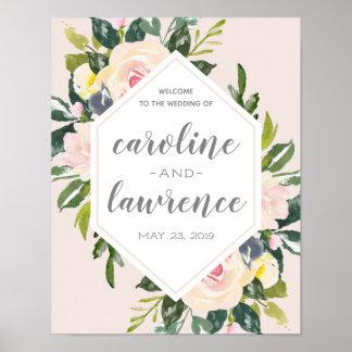Poster Le ressort floral rougissent signe bienvenu