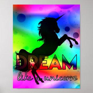 Poster Le rêve aiment une licorne ! - Conception
