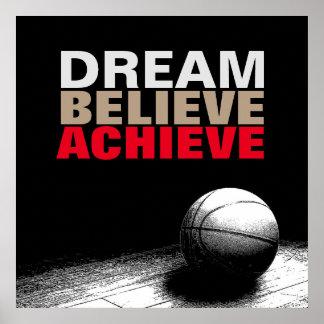 Poster Le rêve croient réalisent l'affiche de basket-ball