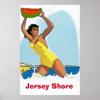 Poster Le rivage du Jersey, pastèque s'éloignent,