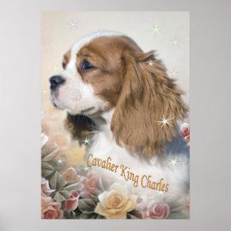 Poster Le Roi cavalier Charles parmi des copies de roses