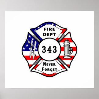 Poster Le sapeur-pompier 9/11 n'oublient jamais 343