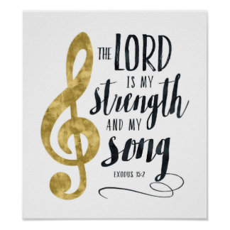 Poster Le seigneur est ma force et ma copie d'or de