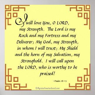 Poster Le seigneur est ma prière de citation de bible de