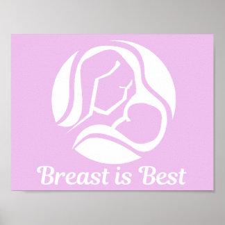 Poster Le sein est meilleur allaiter rose