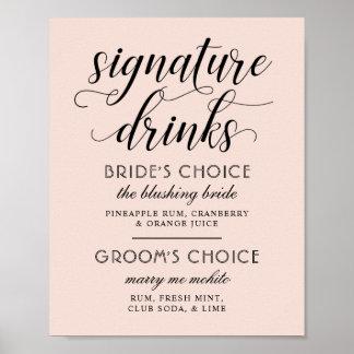Poster Le signe   d'affiche de boissons de signature de