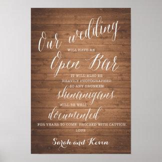 Poster Le signe ouvert drôle | de mariage de barre a