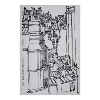 Poster Le style de Haussmann couvre   Paris, France