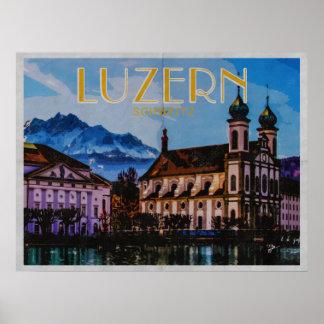 Poster Le Suisse de Lucerne de luzerne a affligé le