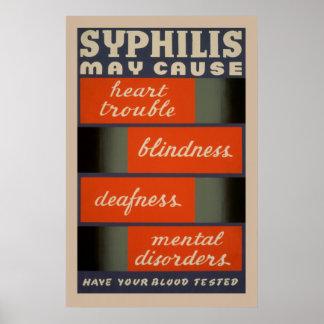 Poster Le syphilis peut causer l'affiche vintage de santé