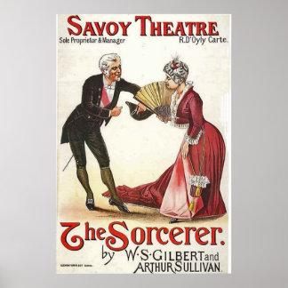 Poster Le théâtre Londres 1884 de la Savoie du sorcier