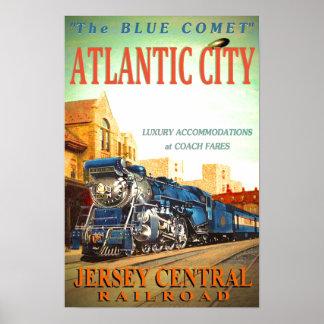 Poster Le train de voyageurs bleu de comète