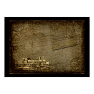 Poster Le train grunge de Steampunk brunit des verts