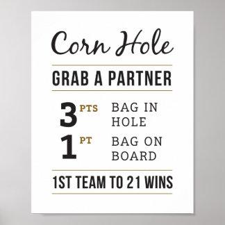 Poster Le trou rustique simple de maïs de mariage ordonne