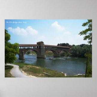 Poster Le vieux pont, Pavie, affiche