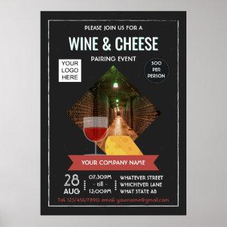 Poster Le vin et le fromage appareillant l'événement