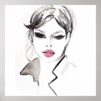 Poster Le visage d'aquarelle fouette le marquage à chaud