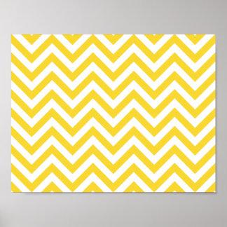 Poster Le zigzag jaune et blanc barre le motif de Chevron