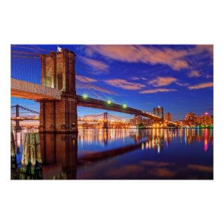 Poster L'East River, pont de Brooklyn, Manhattan