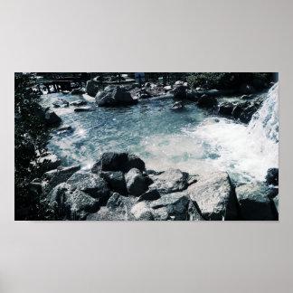 Poster L'eau apaisante bleue (mate) de papier d'affiche