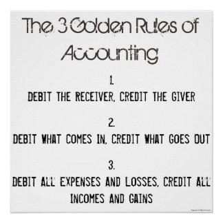 """Poster """"Les 3 règles de la comptabilité d'or """""""