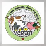 Poster Les animaux d'amour ne les mangent pas végétaliens