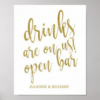 Poster Les boissons sont sur nous ! Signe de mariage du