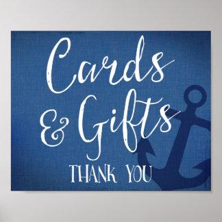 Poster les cartes et le mariage nautique de cadeaux
