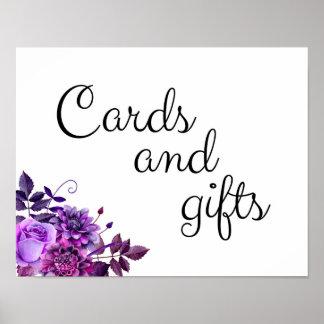 Poster Les cartes et les cadeaux épousant le pourpre de