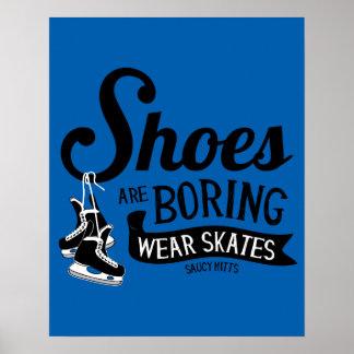 Poster Les chaussures de patins d'hockey d'usage ennuient