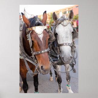 Poster Les chevaux tirent un chariot