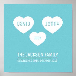 Poster Les coeurs de la famille 3 ont personnalisé
