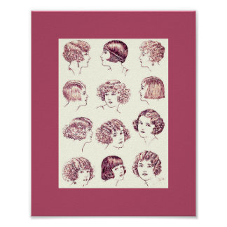 Poster Les coiffures vintages 1924 des femmes
