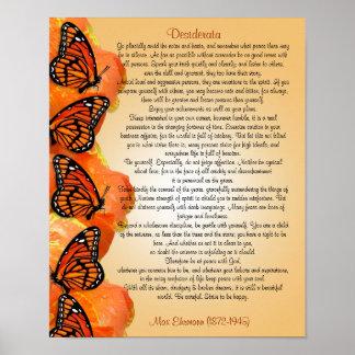 "Poster ""Les desiderata"" avec des papillons de monarque"