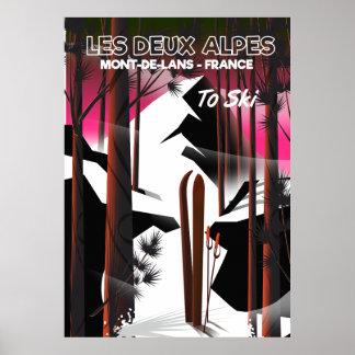 Poster Les Deux Alpes, affiche de voyage de ski de la