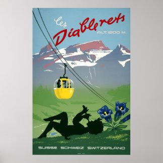 Poster Les Diablerets, Suisse, affiche vintage de voyage