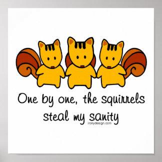 Poster Les écureuils volent ma santé d'esprit