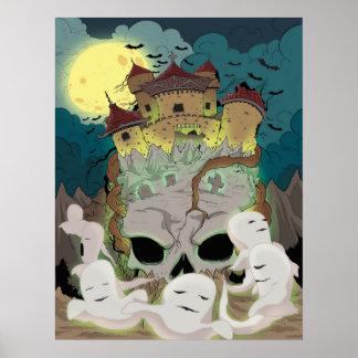 Poster Les fantômes de château de crâne volent sous la