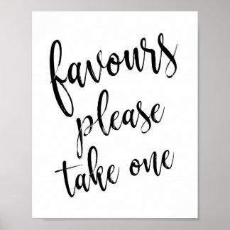 Poster Les faveurs satisfont prennent un signe simple du