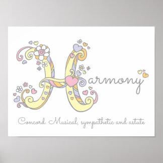 Poster Les filles d'harmonie d'art de monogramme de H