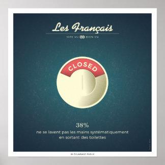 Poster Les Français qui ne se lavent pas les mains