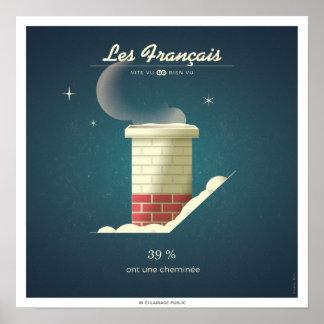 Poster Les Français qui ont une cheminée