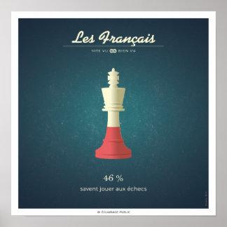Poster Les Français qui savent jouer aux échecs