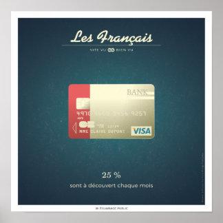 Poster Les Français qui sont à découvert chaque mois