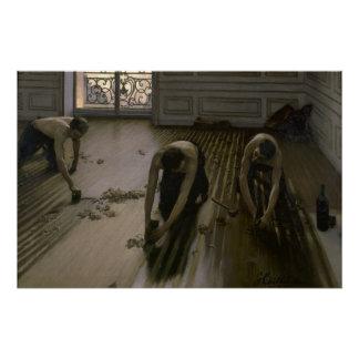 Poster Les grattoirs de plancher par Gustave Caillebotte
